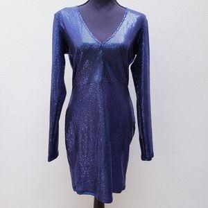 Mind Code Blue Black Long Sleeve vneck shiny dress